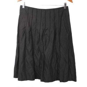 CAbi 617 Black Shimmer Crinkle Pintuck ALine Skirt